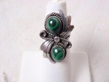 Artisan Crafted Ring Silver Malachite Cabochon Stones Size 4 Small Southwest 60s
