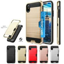 For iPhone X XS Wallet Case Slide Card Slot Shockproof Armor Rugged Phone Cover