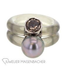 Monika Seitter *Shiva* Ring, Rauchquarz / Tahitiperle