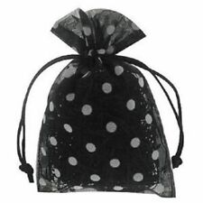 "Black & White Dots 6 x 10"" Polka Dot Organza Bags Pack of 10"
