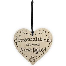 Congratulations On Your New Baby Wooden Hanging Heart Plaque Shabby Chic Si P5U4