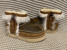 UGG FLUFF PUNK TOSCANA CHESTNUT BOMBER FUR ZIP ANKLE MINI BOOTS SIZE US 9 WOMEN