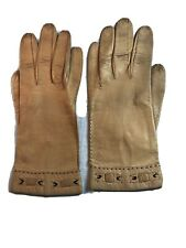 """Vintage Soft Kid Leather Gloves """"Aris Of Paris"""" Tan Size 6 1/4 Made in France"""