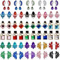 Boho Crystal Wing Flower Drop Dangle Stud Earrings Womens Jewellery Gift Wedding