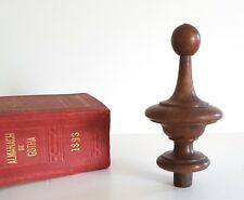 Antique wood post finial end French architectural salvage Furniture parts 3.94""