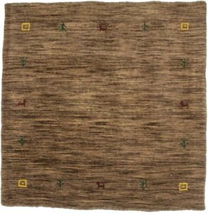 Modern Hand-Loomed Solid Brown 3X3 Contemporary Square Rug Oriental Decor Carpet
