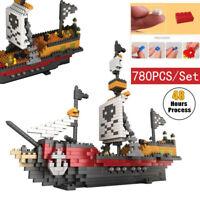 780Pcs Diamond Blocking Set Building Blocks Bricks Pirate Ship Boat Models Toys