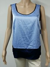 NEW FAST to AUS - Anne Klein Sleeveless Round Neck Blouse Size M Light Blue $59