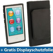 Schwarz Gel Clip Tasche für Neu Apple iPod Nano 7. Gen Generation 7G 16GB Etui