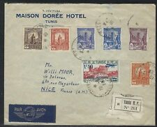 1939 Tunisia Registered Air Mail Cover – Tunis to Nice, France