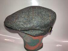 Borsalino 100% Wool Windowpane Blue Tweed Flat Cap Hat Size 59 / 7 3/8  NWT