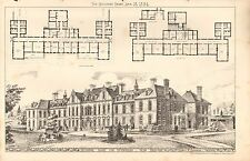 1884 ANTIQUE ARCHITECTURAL PRINT-  MEMORIAL HOME FOR INCURABLES, BELFAST