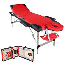 3 Fold Portable Massage Table Facial SPA Bed Tattoo w/Free Carry Case Black&red