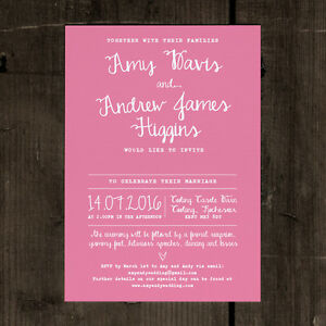 Personalised White Calligraphy Wedding Invitation - RSVP Save the Date