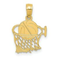 14k Basketball in Net Pendant New Sports Charm Yellow Gold