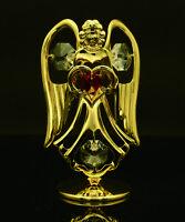 SWAROVSKI CRYSTAL ELEMENT JANUARY BIRTHSTONE GARNET ANGEL 24K GOLD PLATED