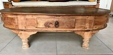 Balinese indoor/outdoor reclaimed teak oval coffee table with 4 drawers