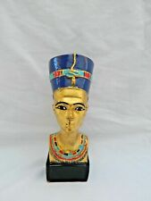 Egyptian Nefertiti Resin Statue Beautiful Workmanship Gold Blue Black Base 5.5""