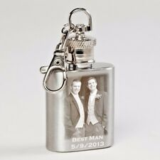 Personalised 1oz Mini Hip Flask Keyring Photo or Text Engraved - Christmas