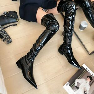 Sexy Women Block Heel Thigh High Boots Pointy Toe Patent Leather Shoes Nightclub
