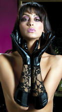 Black PVC Look Lace Mistress wet Look Gloves 50 Shades Clubwear Size M