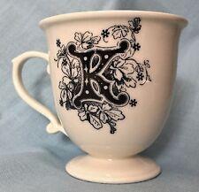 Anthropologie Monogram K Pedestal Teacup 6-8 ounces Black Cream Mug Coffee