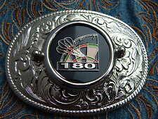 NUOVA Argento realizzato a mano in metallo fibbia della cintura FRECCETTE DART BOARD Cowboy Western
