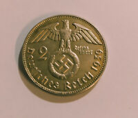 Allemagne 2 Reichsmarks 1939 Argent Repro  Piece Coin Silver WW2 Germany