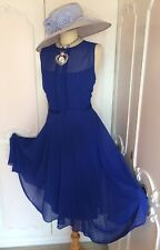 HOBBS Blue Chiffon Dress & Fascinator Suit Mother of the Bride Wedding Size 18