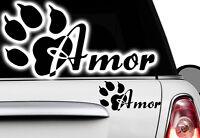 2x Aufkleber Pfote 30x15cm Pfoten Hunde WUNSCHNAME Sticker Auto FUNx Tatze Name