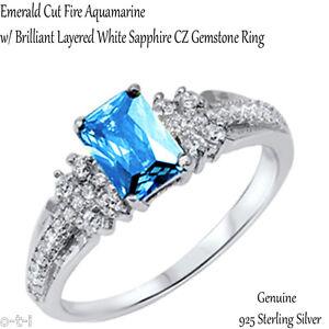 Wedding Engagement Emerald Cut Aquamarine Sterling Silver Ring Size 4 - 12