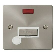 Click FPBS553WH 13A Un-switched Spur Neon + Flex Out. Flat Plate.Brushed Steel