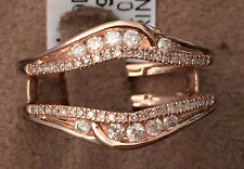 Solitaire Enhancer Round Diamonds Ring Guard Wrap 10k Rose Gold Wedding Band