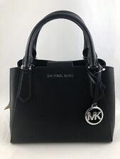 New Authentic Michael Kors Kimberly Small Leather Satchel Crossbody Purse Black