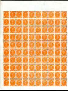 Confederate States 2c Orange Calhoun Sheet of 100 Reprint. Ungummed