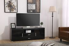OHIO High Gloss Black 2 door 2 drawer TV Stand Unit Cabinet **FREE DELIVERY