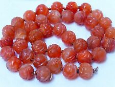 ANTIQUE CHINESE Carved Shu CARNELIAN 15mm BEAD NECKLACE, 154 GRAMS