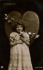 c 1910 Traut Faith Hope CHARITY GIRL Cute binky photo postcard