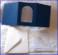 BLANK CROSS STITCH CARD KIT WITH FABRIC, NEEDLE, CARD, ENVELOPE BLUE 1 FREE P&P