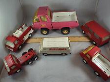 "6 Vtg Pressed Steel Tonka Trucks, 1 8.5"" Pink, 3 Emergency Services, 1 Semi Rig"