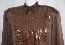 Mondi Women's Blouse Size 34 Silk Sequins Brown 4 US