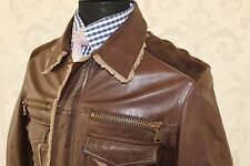 STANDOUT DOLCE & GABBANA D&G BROWN SUEDE LEATHER JACKET AMAZING PATINA UK 38R