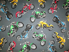 Large Motorcycles Biker Harley Chopper Gray Cotton Fabric Fq