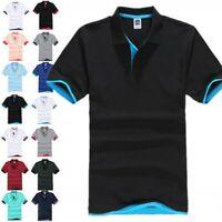 Mens Classic Short Sleeve Polo Shirt T-Shirt Plain Lapel Shirts Tops Summer NEW