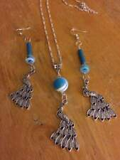 sterling silver chain,silver peacock, pendant,charm, blue,white bead earring