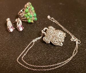 JEWELRY Elephant Pin Sterling Amethyst & Topaz Earrings, Silver Mohave Turquoise