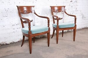 Baker Furniture French Carved Walnut Lounge Chairs, Pair