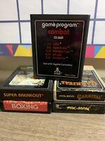 Atari 2600 Game Lot Of 5 : Pac-Man Carnival Boxing Super Breakout Combat