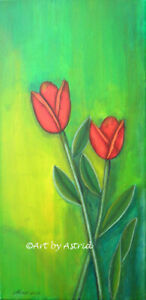 Red Tulips Spring Flowers  - Original Painting by Astrid
