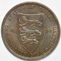 Jersey 1894 1/12 Shilling Lion animal 192799 combine shipping